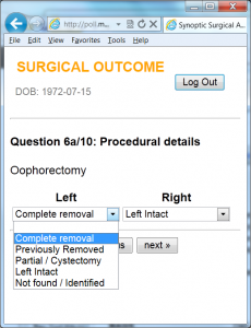 A screenshot of the ovarian cancer outcomes app.