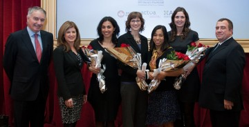 Left to right: Mr. Philippe Zeller, Ambassador of France to Canada, Honourable Rona Ambrose, Minister of Public Works and Government Services and Minister for Status of Women, Ms. Célia Jeronimo and Ms. Jennifer E. Bruin, recipients of the Research Excellence Fellowships, Ms. Emily Choy and Ms. Grace Murphy, recipients of the Canadian National Mentoring Fellowships, Mr. Javier San Juan, President and CEO, L'Oréal Canada. (CNW Group/L'Oréal Canada)
