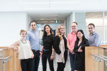(Left to right) 2018 Friedman Award for Scholars in Health recipients Erika Siren, Hooman Esfandiari, Anita Minh, Lindsay Richter, Andrew Perrin, Christina Luong and Sam Pakyari.