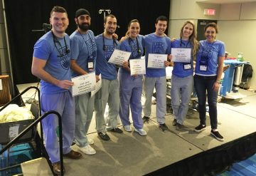 The winning team (L-R: Residents Richie Lee, Indy Sahota, Mathieu Surprenant, Ana Gomez, Dan Abrams, Sara Pankratz and Jeanne MacLeod, Clinical Faculty)
