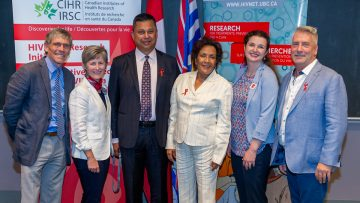 (L-R): Dr. Michael Allard, Dr. Jeannie Shoveller (Chairperson of the CIHR Governing Council), Dr. Aslam Anis (CTN National Director), The Honourable Hedy Fry (MP Vancouver Centre), Dr. Melanie Murray (Oak Tree Clinic), Darren Lausher (Community Advisory Committee, CTN).