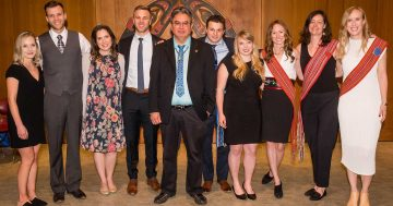 James Andrew (centre) with new graduates at the 2019 graduation celebration for UBC's Indigenous MD Admissions Program.